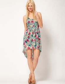 ASOS Collection Floral Print Dress with Dipped Back - Lyst
