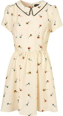 Topshop Pansy Print Collar Dress - Lyst