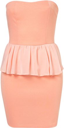 Topshop Bandeau Peplum Dress By Oh My Love - Lyst