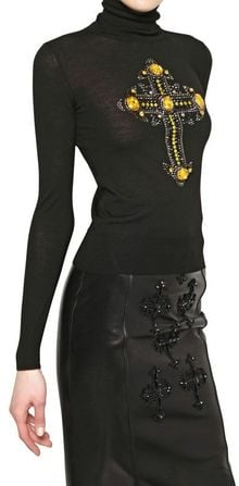 Versace Jewelled Cross Wool Knit Sweater - Lyst