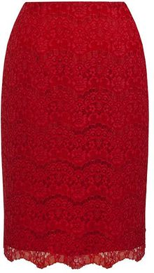 Alexon Deep Red Lace Skirt - Lyst