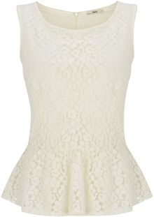 Oasis Lace Peplum Shell Top - Lyst