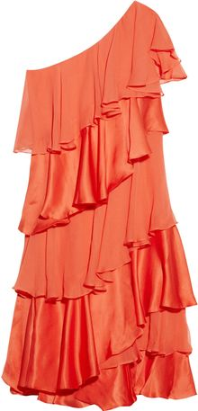 Halston Heritage Tiered Silk Satin And Chiffon Dress - Lyst