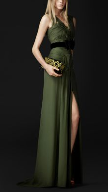 Burberry Prorsum Ruched Detail Silk Dress - Lyst