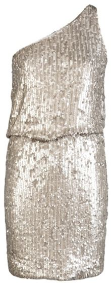Halston Heritage One Shoulder Sequin Dress - Lyst