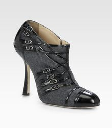 Oscar de la Renta Flannel and Leather Buckle Ankle Boots - Lyst