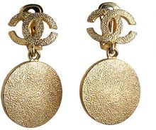 Chanel Vintage Chanel Disk Earrings - Lyst