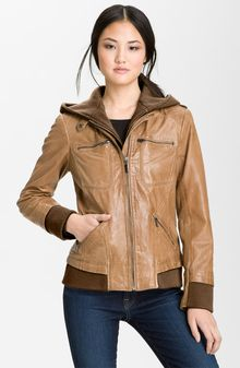 Bernardo Leather Bomber Jacket with Detachable Hoodie Liner - Lyst