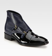 Jil Sander Bicolor Patent Leather and Leather Ankle Boots - Lyst