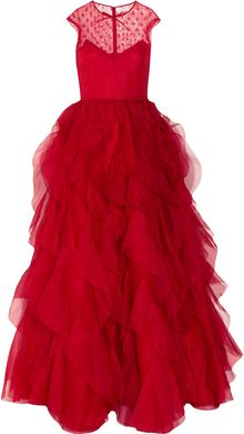 Valentino Lace and Ruffled Silkorganza Gown - Lyst