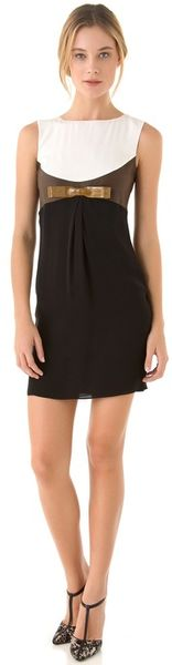 DSquared2 Lou Bow Dress With Leather Trim - Lyst