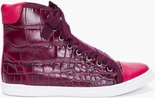Lanvin Burgundy Scale Embossed Sneakers - Lyst