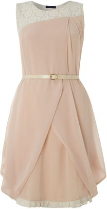 Vivi Boutique Sleeveless Belted Dress - Lyst