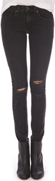 Rag & Bone Skinny Jean with Holes - Lyst
