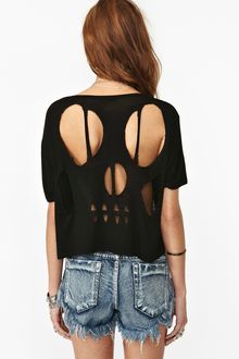 Nasty Gal Skeleton Cutout Tee - Lyst
