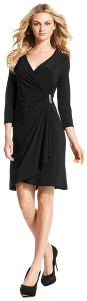Calvin Klein Three Quarter Sleeve Faux Wrap - Lyst