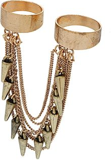 Topshop Spike Chain Drape Two Rings - Lyst