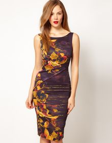 Karen Millen  Pencil Dress in Purple Floral Print - Lyst