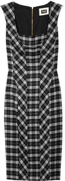 D&G Checked Wool Blend Dress - Lyst