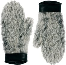 Asos Faux Shearling Mittens with Leather Cuff - Lyst