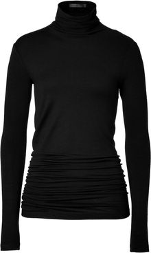 Donna Karan New York Black Gathered Back Jersey Turtleneck - Lyst