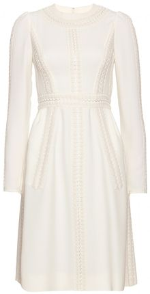 Valentino Silk Crepe Dress with Passements Appliqué Throughout - Lyst