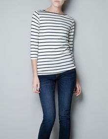 Zara Striped Organic Cotton T-shirt - Lyst