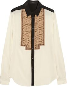 Etro Beaded Stretchsilk Blouse - Lyst