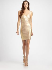 Hervé Léger Metallic Bandage Dress - Lyst