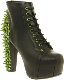 Jeffrey Campbell Lita Platform Ankle Boot Black Lthr Green Spikes - Lyst