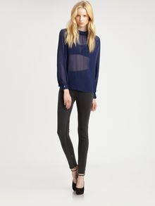 Blk Dnm Sheer Silk Blouse - Lyst