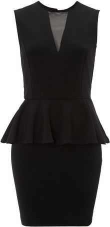 True Decadence Sheer Vpeplum Dress - Lyst