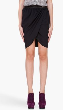 Alice + Olivia Black Leather Trim Tulip Skirt - Lyst