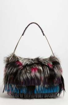 Jimmy Choo Embroidered Suede Genuine Fox Fur Shoulder Bag - Lyst