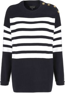 Topshop Knitted Clean Stripe Jumper - Lyst