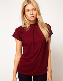 ASOS Collection Asos Top with Pleat Front and High Neck - Lyst