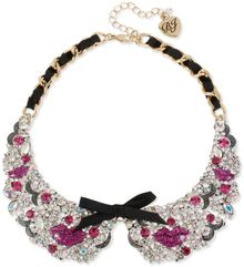 Betsey Johnson Antiqued Gold Tone Pink Lips Black Ribbon Collar Necklace - Lyst