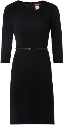 Max Mara Studio Bianca 34 Sleeve Belted Wool Dress - Lyst