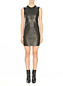 Alexander Wang Leather with Merino Tank Dress - Lyst