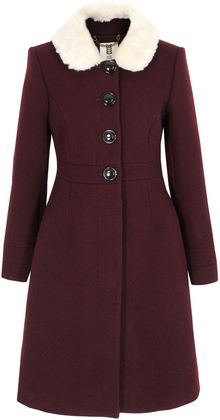 Orla Kiely Burgundy Fur Collar Coat - Lyst