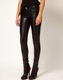 River Island Super Skinny Leather Look Jeans - Lyst