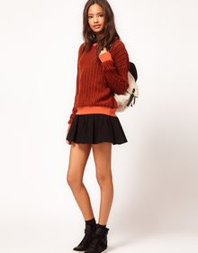 ASOS Collection Top in Contrast Waffle Knit - Lyst
