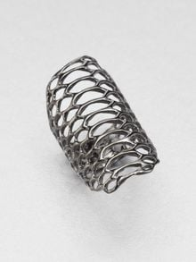 Elizabeth And James Openwork Ring Rhodium - Lyst