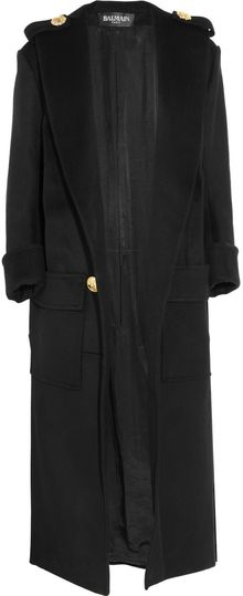 Balmain Wool Coat - Lyst