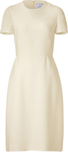 Valentino Ivory Silk Dress with Matelassé Sleeves - Lyst