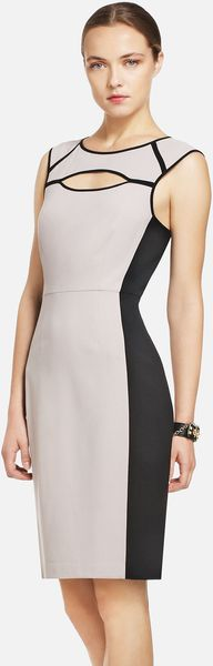BCBGMAXAZRIA Colorblocked Sheath Dress - Lyst