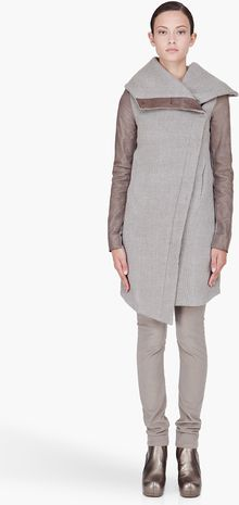 Helmut Lang Grey Leather Trim Willow Ow Coat - Lyst