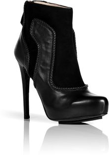 Burak Uyan Black Suedeleather Platform Ankle Boots with Woven Trim - Lyst