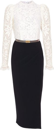 Alessandra Rich Lace Panel Skirt Dress - Lyst
