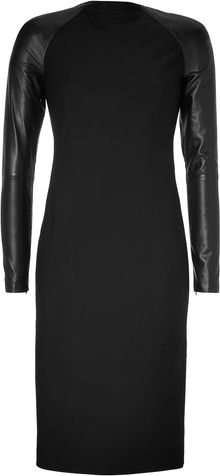 Ralph Lauren Collection Black Woolcrepe Megan Dress with Leather Sleeves - Lyst